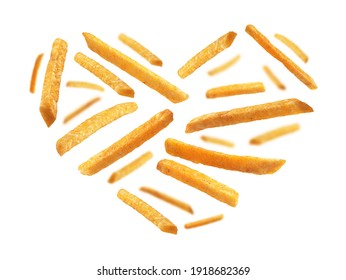 French fries in the shape of a heart on a white background