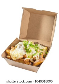 French fries topped with melted Raclette cheese and scallions. Isolated on white background. Clipping path available