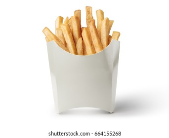 French fries in a white box isolated on white background