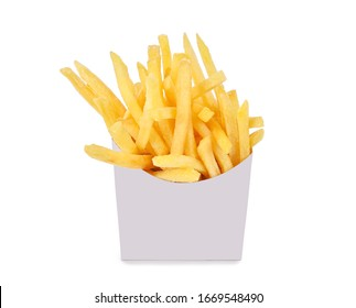 French fries in a white paper box isolated on white background.