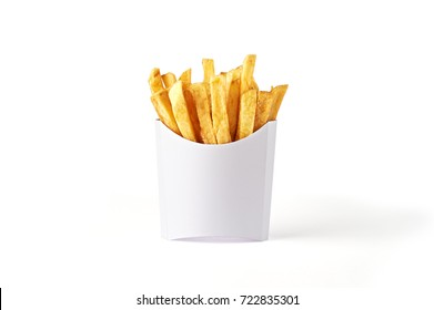 French fries in a white paper box isolated on white background. Front view.