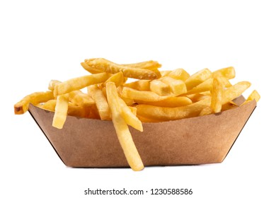 French fries  in white tray isolated on white background