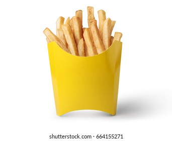 French fries in a yellow box isolated on white background