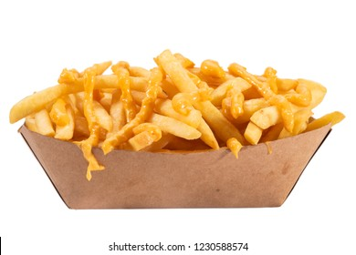 French fries with yelow souce in white tray isolated on white background