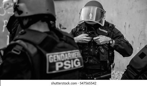 French gendarmerie before morning intervention.