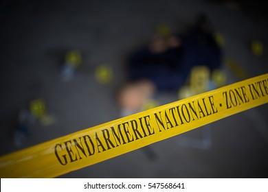 French gendarmerie forensics  crime scene.