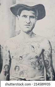 FRENCH GUIANA - CIRCA 1912: Reproduction of old photograph of unidentified tattooed prisoner at Ile du Diable, French Guiana, circa 1912.