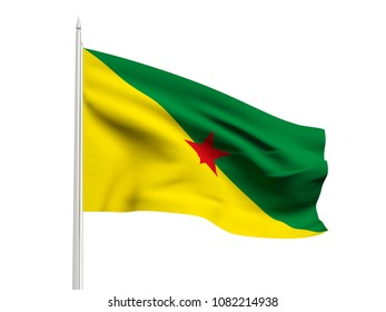 French Guiana flag floating in the wind with a White sky background. 3D illustration.
