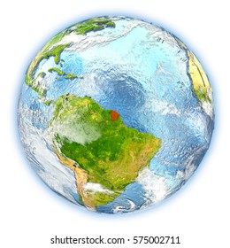 French Guiana highlighted in red on planet Earth. 3D illustration isolated on white background. Elements of this image furnished by NASA.