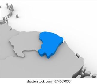 french guiana map 3D illustration