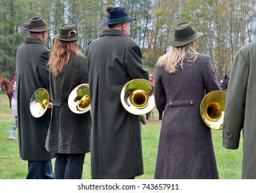 french horn band on saint Hubert ride day, 28/10/2017, Horsov, Czech republic