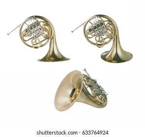 French horn in different view points, isolated on white background with clipping mask.