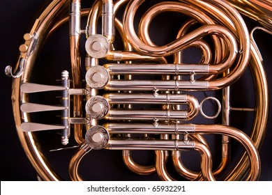 French Horn on dark background