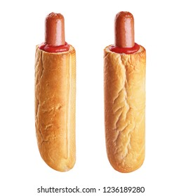 French hot dog isolated on white background. With clipping path.