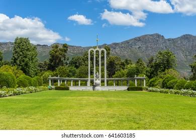 French Huguenot Monument garden in Franschhoek, South Africa