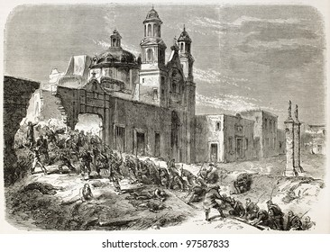 French intervention in Mexico: assault to Notre-Dame de Guadalupite church in Puebla by French army soldiers. Created by Godefroy-Durand, published on L'Illustration, Paris, 1863
