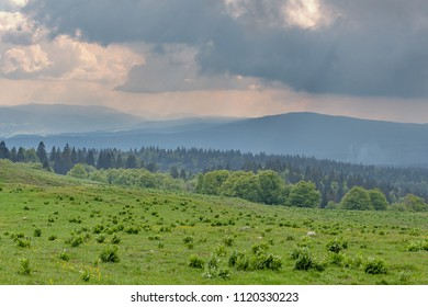 French landscape - Jura. View from Mont d'or on the hills of the Jura mountains.