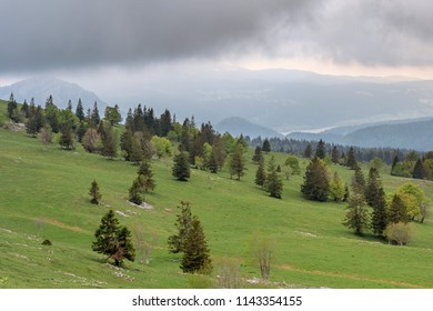 French landscape - Jura. View from Mont d'or to the hills of the Jura mountains.