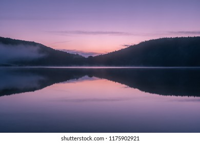 French landscape - Jura. View over the lake of Narlay in the Jura mountains (France) at sunrise.