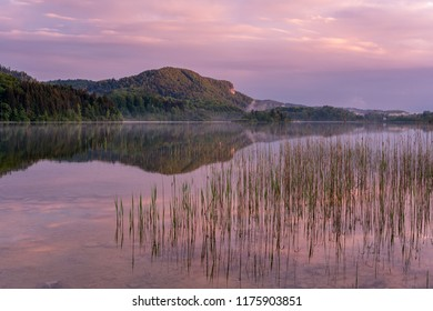 French landscape - Jura. View over the lake of Ilay in the Jura mountains (France) at sunrise with reeds in the foreground.