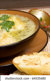 French leek soup with toast and cheese