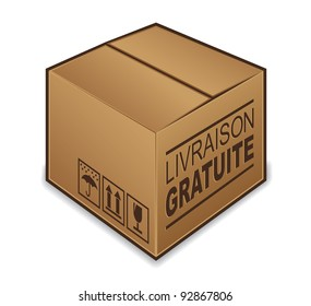 "French ""livraison gratuite"" box icon isolated on white background"