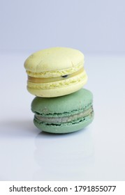 French macarons dessert on white background. ready to use commercial food photo. Sweet confectionary food photo