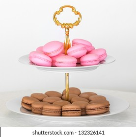 French macarons on two tier serving tray