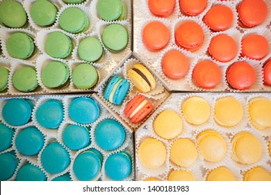 French Macarons , Sweet Food, Group Of Handmade Colorful Cakes In Paper Cup, Small Business Concept
