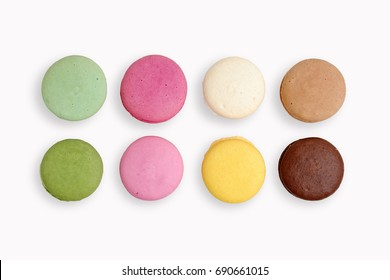 French macaroons cookies on white isolated background