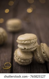 French macaroons with matcha and white chocolate