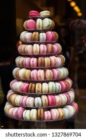 French macaroons pyramid stand.
