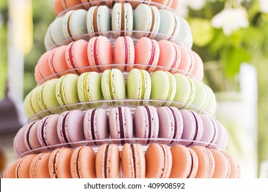 French macaroons.Candy bar.Wedding feast. Wedding sweets