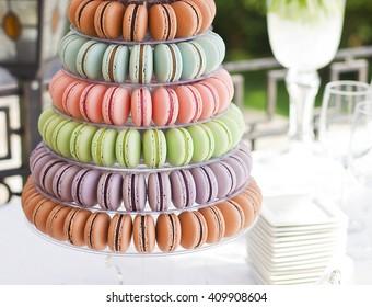 French macaroons.Candy bar.Wedding feast. Wedding sweets