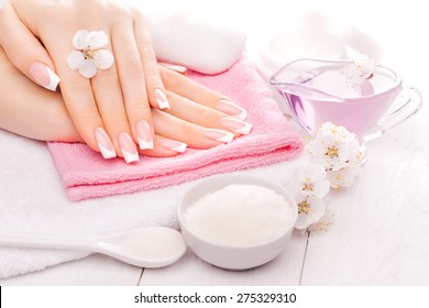 french manicure with essential oils, apricot flowers. spa