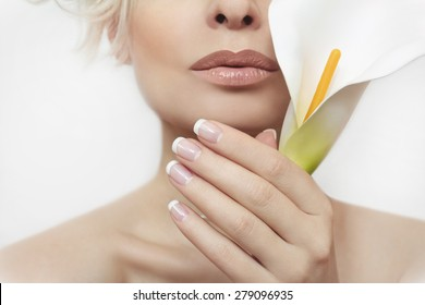 French manicure for the girl with the flower in her hand on a light gray background.