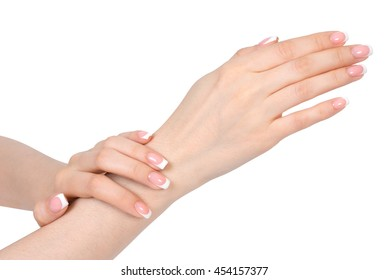 French manicure on white background, isolated