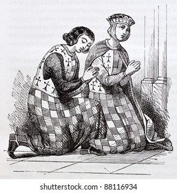 French medieval costumes old illustration: man and woman in checked costumes (from glass-window of Notre-Dame de Chartres). By unidentified author, published on Magasin Pittoresque, Paris, 1844