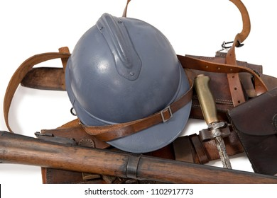 french military helmet of the First World War with equipment isolated on white