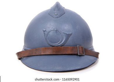 a french military helmet of the First World War on white background
