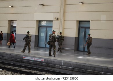 French Military At SNCF Marseille Saint-Charles Train Station - State Of Emergency - Patrol - August 16 2017