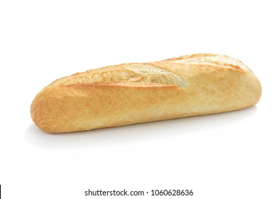 French mini baguette isolated on white background in close-up