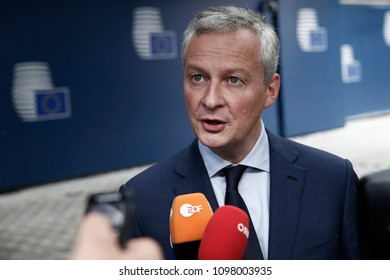 French minister of economy, Bruno Le Maire talks to media as he arrives in Eurogroup finance ministers meeting at the European Council in Brussels, Belgium on May 24, 2018.