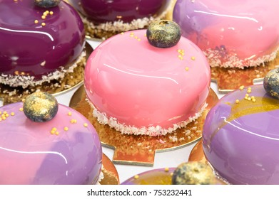 French mousse cakes for background
