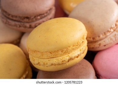 french multicolored macaroons a close up