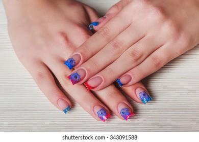 Blue Nail Art Chevron Stripes Stock Photo Edit Now 583822948
