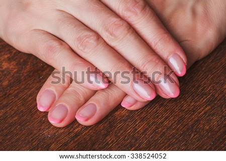 French Nail Art Light Pink Color Stock Photo Edit Now 338524052
