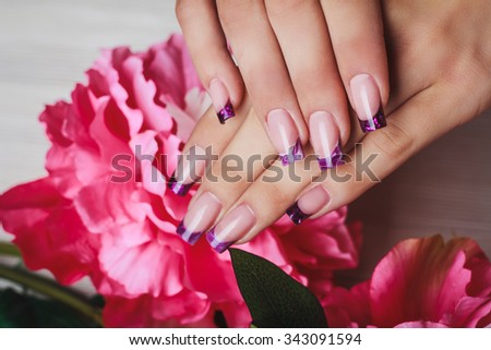 French Nail Art Purple Color On Stock Photo Edit Now 343091594