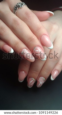 French Nail Design Stock Photo (Edit Now) 1091149226 - Shutterstock