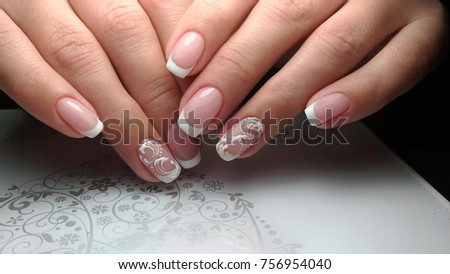 French Nail Design Stock Photo (Edit Now) 756954040 - Shutterstock
